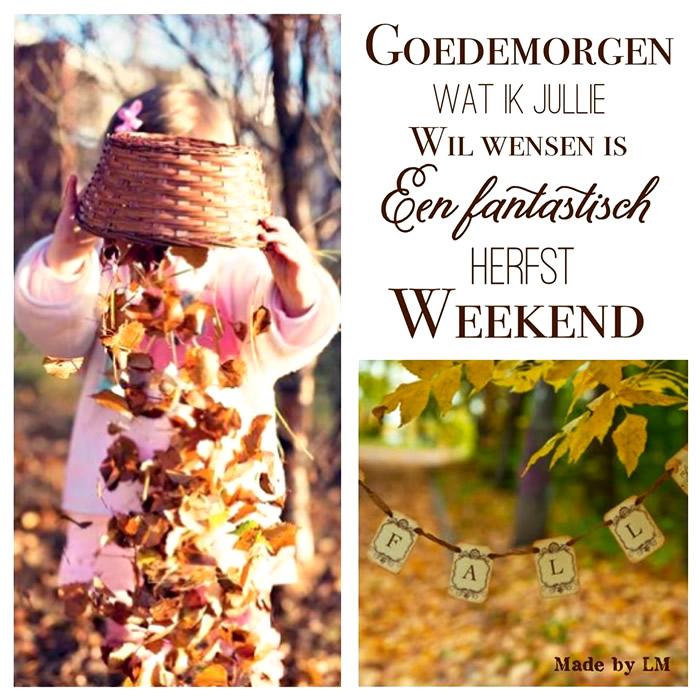 Goedemorgen, wat ik jullie wil wensen is een fantastisch herfst weekend Plaatjes