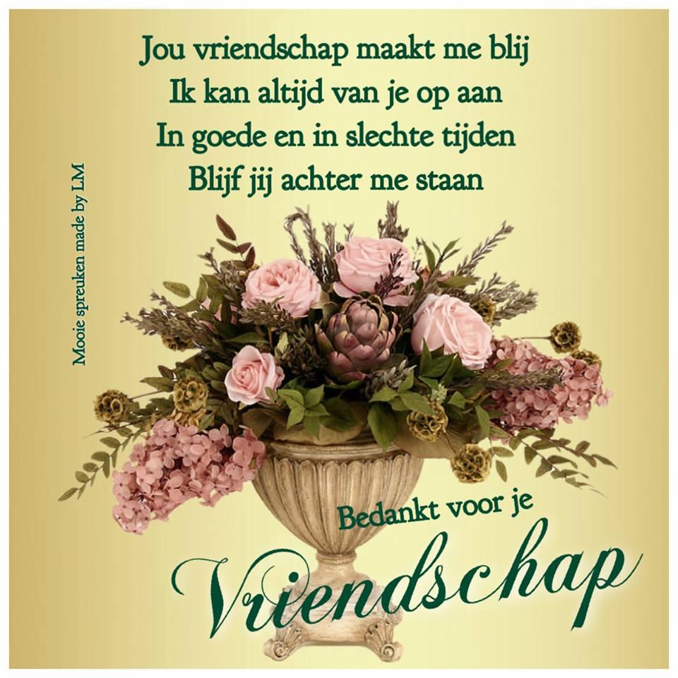 Jou vriendschap maakt me blij Ik kan altijd van je op aan In goede en in slechte tijden Blijf jij achter me staan Bedankt voor je Vriendschap Plaatjes