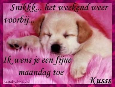 Snikkk...het weekend weer voorbij ik wens je een fijne maandag toe Kusss