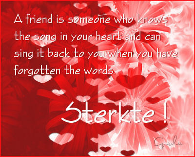 A friend is someone who knows the song in your heart and can sing it back to you when you have forgotten the words Sterkte
