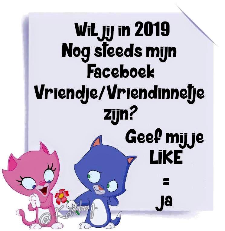 Wil jij in 2019 nog steeds mijn facebook vriendje/vriendinnetje zijn? Geef mij je Like = ja
