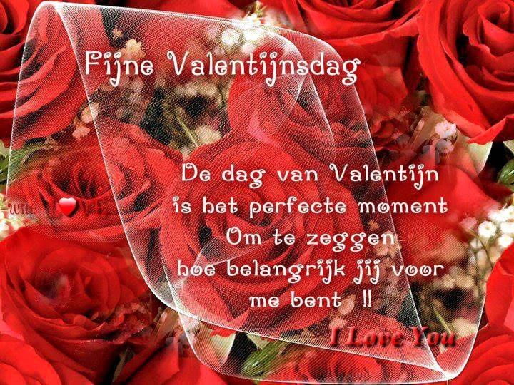Fijne Valentijnsdag De dag van Valentijn is het perfecte moment om te zeggen hoe belangrijk jij voor me bent !! I Love You