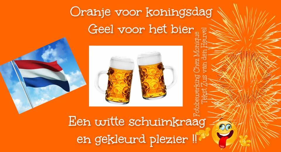 Oranje voor koningsdag, Geel voor het bier, Een witte schuimkraag en gekleurd plezier !!